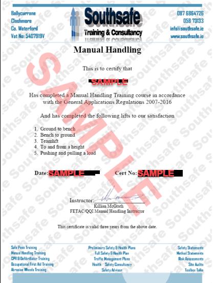 Manual Handling Certificate Template